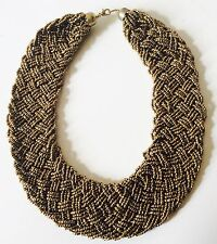 Golden Ladies Statement necklace Braided beaded Bib Collar necklace 4 Colours