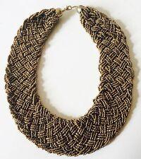 Golden Señoras Collar De Declaración Collar babero Collar Trenzado Con Cuentas 4 Colores