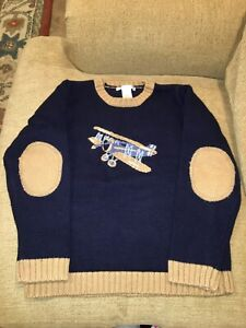 Janie And Jack Toddler Boy 6 Wool Blend Airplane Sweater Pullover Navy Blue