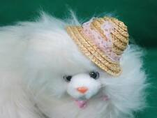Big Lifelike White Hair Himalayan Kitty Cat Kitten Straw Hat Plush Stuffed Anima