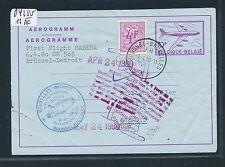 04250) Belgien GA Aerogramme LF 16IV Sabena FF Brüssel - Detroit 9.4.80