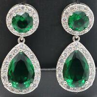 Gorgeous Pear Emerald Drop/Dangle Earrings Women Jewelry 14K White Gold Plated