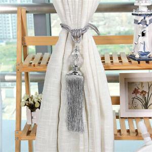 2PC Curtain Tassel Tiebacks Crystal Beaded Curtain Holdback Rope Tie Backs