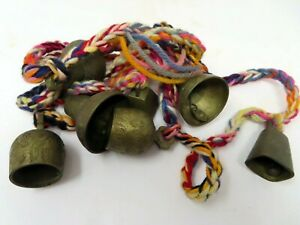 Vtg 1950s BELLS of SARNA India Etched Brass 7 Bell String Lot