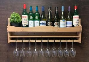 Wine Rack Shelf Bottle & 10 Glass Holder Drinks Home Bar Large Wooden (10WO)EL