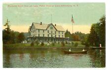 Fourth Lake NY -MANHASSET HOTEL & LAKE-Postcard 4th Adirondacks/Fulton Chain