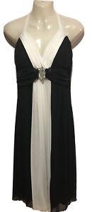 Black/White Midi Sleeveless Dress  Size14 Good  Condition Lined Mr K