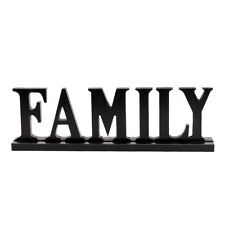 Family Word Sign, Wood Block Family Sign Rustic Standing Cutout Letter