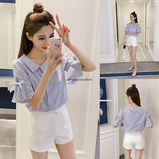 Korean Women Casual Loose Slim Striped V Neck Flare Sleeve Summer Blouse Top 2XL