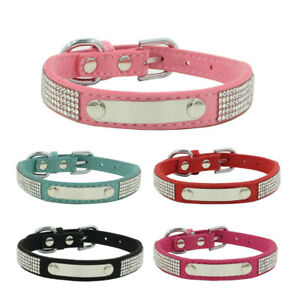 Personalized Pet Dog Collar Rhinestone Leather Free Engraved Puppy Cat Necklaces