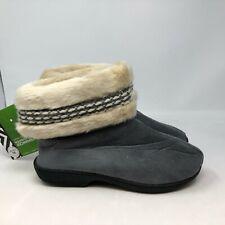 Isotoner Woodlands Cozy Boot Slippers Enhanced Heel XL 9.5-10.5 Ash NWT