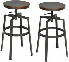 2Pcs Bar Stools Industrial Swivel Home Kitchen Chairs Height Adjustable 28.9' H