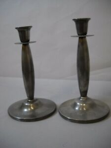 VINTAGE Silver Tanished CANDLE STICKS with Flower ETCHED on with ROUND BASE