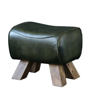 Pommel Horse Low Stool Green Leather Seat with Natural Wooden Legs