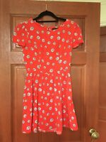 Topshop Red Floral Tea Dress Size 8