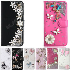 Rhinestone Phone Cover Crystal Diamond Leather Flip Wallet Cards Case For HTC