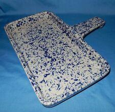 "Blue Spongeware 11"" x 10"" Rectangle Griddle Fry Pan? Baking Dish Stoneware USA"
