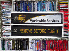 Keyring UPS AIRLINES - UNITED PARCEL SERVICE - Remove Before Flight tag keychain