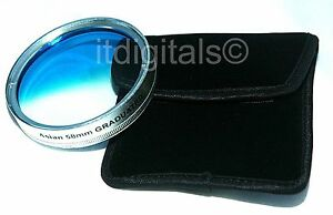 55mm Graduated Blue Color Lens Coated Glass Filter Screw-in Half Blue Half Clear