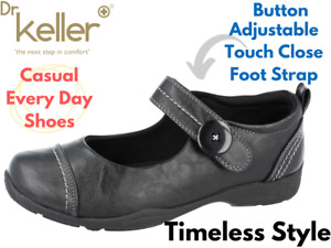 Ladies Dr Keller Faux Leather Button Strap Flat Casual Shoes Mary Jane Loafers