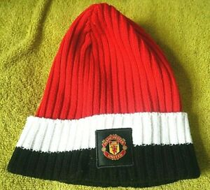MANCHESTER UNITED BEANIE HAT Adult Size One Size (Home Red, Black & White)