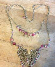 """Double Strand Pink Rhinestone & Glass Bead Accents Butterfly Necklace 16"""""""