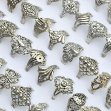 100pcs Wholesale Lots Band Ring Jewelry Mixed Style Tibet Silver Vintage Rings