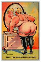 Vintage 1940's Walt Munson Comic Postcard Woman in Lingerie Looking in Mirror