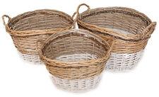 Rattankorbset oval natur/weiß 3er Set Dekoset Holzkörbe Holzkorb Aufbewahrungs