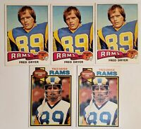 LOT OF 5 FRED DRYER LA RAMS FOOTBALL CARDS TOPPS 1975 #312 1979 #453