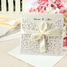 PK / 10 Laser Cut Wedding Evening Invitations Cards Free Envelopes Seals