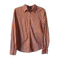 Lauren Ralph Lauren Womens M Button Shirt Orange Stripe Top Dress Shirt