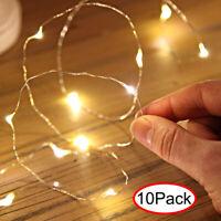 10Pack 10er LEDs Lichterkette Draht Micro warmweiß Batteriebetrieb Dekor Xmas De