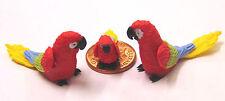 1:12 Scale 2 Parents & A Baby Red Parrot Dolls House Miniature Garden Bird P15