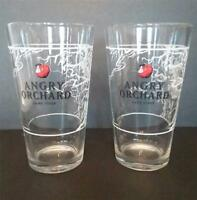 Pair of 2 Angry Orchard Hard Cider Beer 16oz Pint Drinking Bar Glasses NEW
