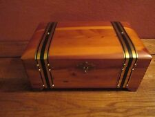 Cedar Chest Jewelry Box with Metal Bands & Handles missing part of clasp