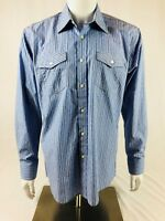 Blue By Pronto Uomo Mens Sz Large Casual Dress Shirt Blue Striped Front Pocket