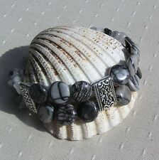 "Gemstone Crystal Beaded Bracelet - Zebra Jasper & Rutilated Quartz ""Marais"""