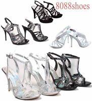 Women's Sexy Rhinestone Slingback High Heel Evening Sandal Shoes Size 5 - 10 NEW