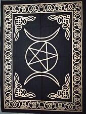 Tapestry Black Mat Triple Moo Star Mandala Gold Indian Poster Wall Hanging Throw