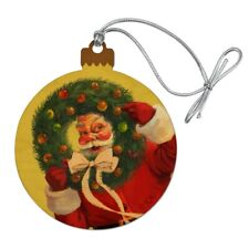 Christmas Holiday Santa Wreath Ribbon Swirl Wood Christmas Tree Holiday Ornament