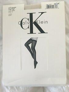 Vintage Calvin Klein Soft Opaque Thigh High Style 802 Size 3 Ecru Year-1992