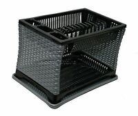 Modern Design 2 Layer Plastic Dish Drainer Rack Utensil Cutlery Silver-BLACK ST
