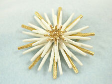 SPIKEY DAHLIA ABSTRACT FLOWER BURST BROOCH PIN WHITE GOLD PLATE LAYERS VINTAGE