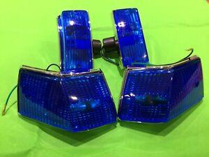 Vespa PX 125 150 200 T5 Indicator Set - Blue Lenses Chrome Body Amber Bulbs
