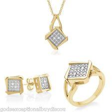 PRINCESS DIAMOND WEDDING ENGAGEMENT RING + NECKLACE + FREE EARRINGS SZ 7