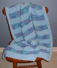 Blue, Aqua & Dusty Plum Crochet Baby Afghan / Blanket - New - Very Nice!