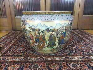 "Vintage 14"" Chinese Canton Hand painted Gilt Rose Medallion Porcelain Bowl"