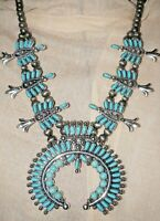 Western Squash Blossom Necklace Set NEW STYLE turquoise stones