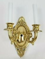 Vintage Ornate Brass Double Candlestick Style Wall Sconce Electric Lamp Light